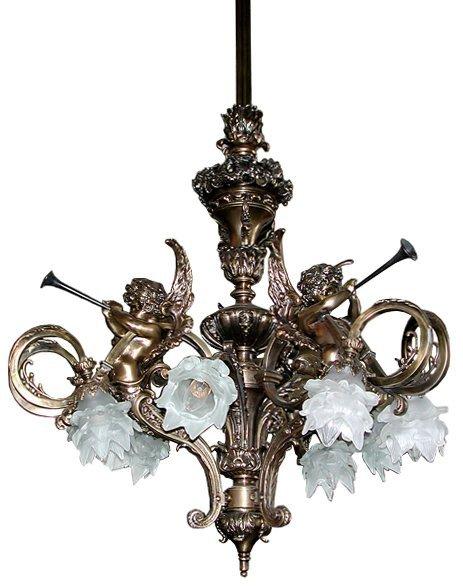 5558 French Brass Chandelier with Cherubs & Glass Flowe