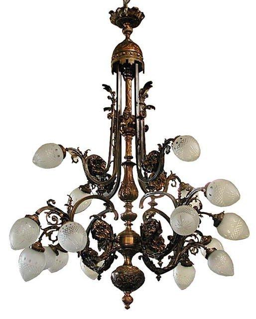 6035 Large Bronze French 16-Light Belle Epoque Chandeli