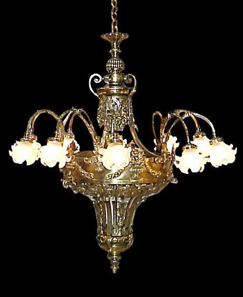 4627 Fabulous Bronze & Cut Glass Chandelier