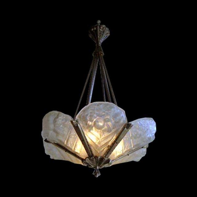 6819 Beautiful Art Deco Noverdy Chandelier