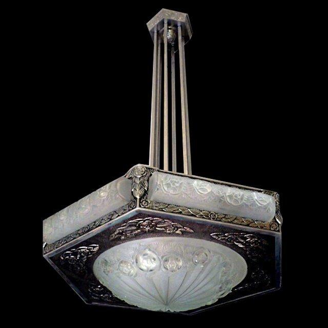 """6828 Magnificent Art Deco """"Degue"""" Chandelier"""