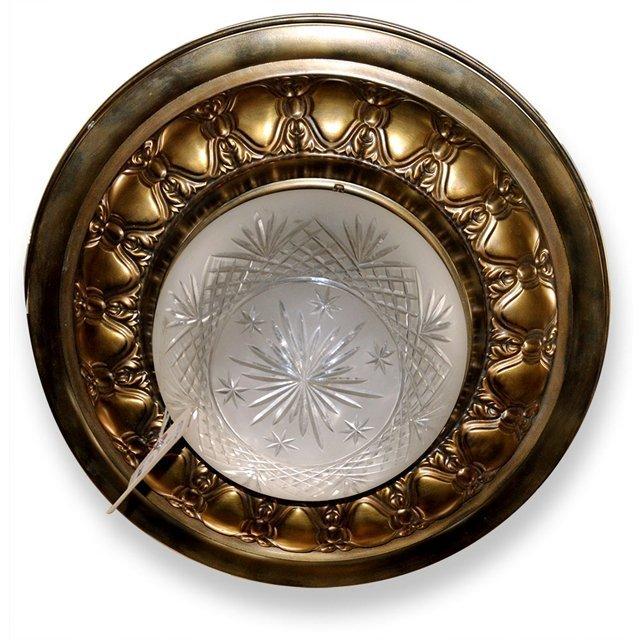 7011 Antique Bronze Flush Mount with Cut Crystal Bowl