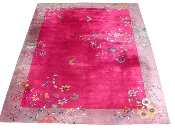 5216 Chinese Art Deco Rug with Butterfly & Floral Patte