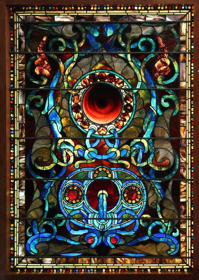 7556 Antique LaFarge Stained Glass of Jewels & Circles