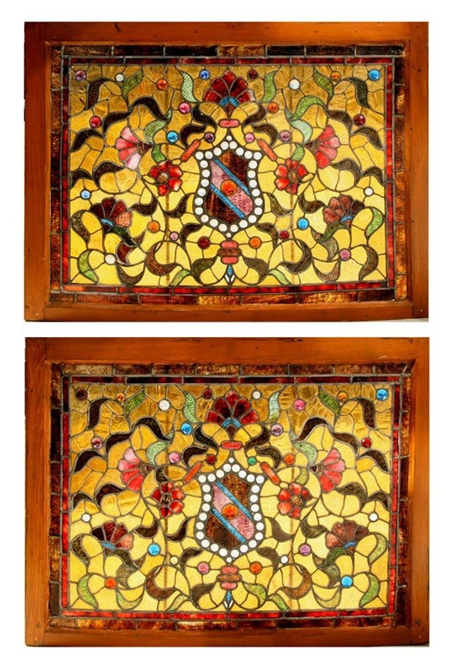 6934 Pair of American Victorian Stained Glass Windows