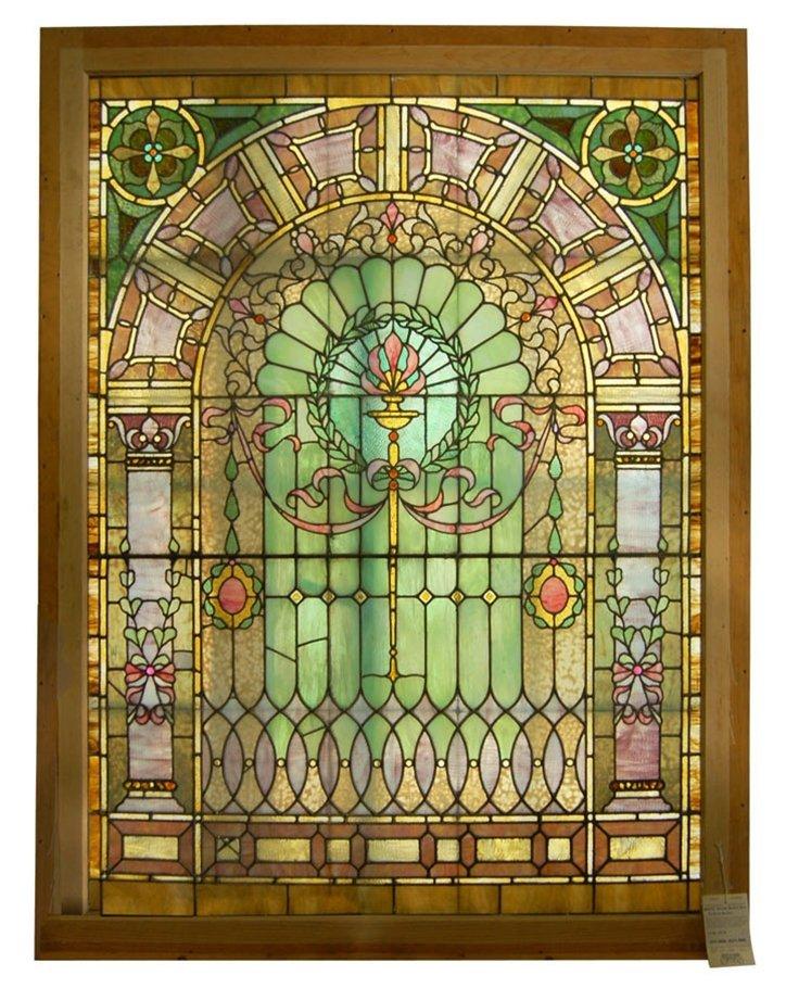 6979 Stained Beveled & Chunk Jeweled Glass Window
