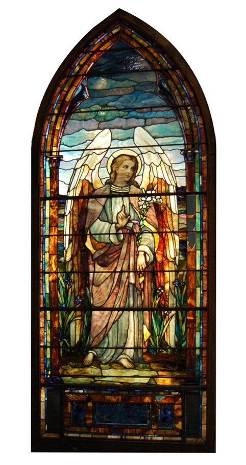 7548 12'H Stained Glass Angel Windows Attr: Tiffany