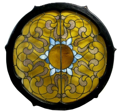 4817A 19th C. Antique Round Stained Glass Window
