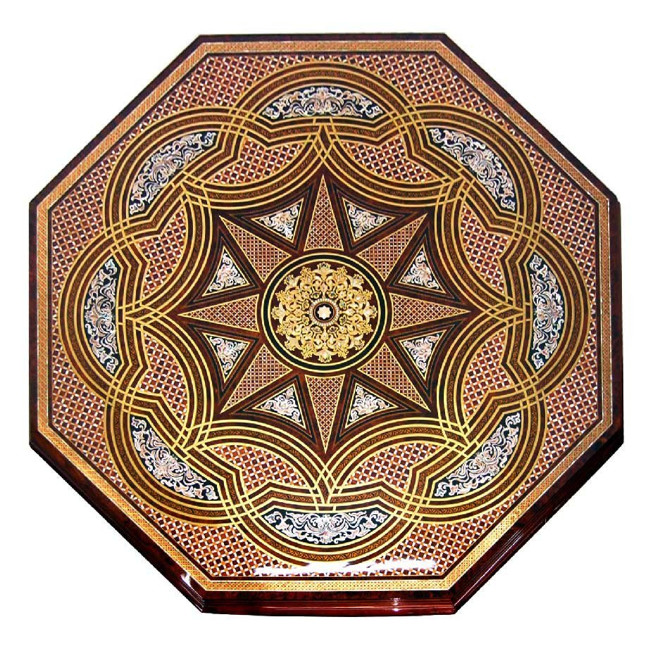 7679 Magnificent Vintage French Octaganal Inlaid Table