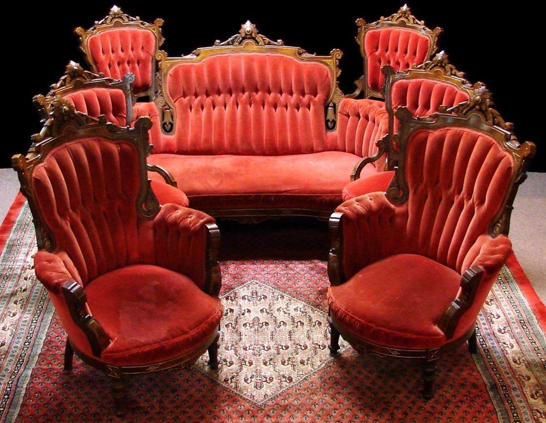 7580 Antique Victorian 7-Pc. Walnut  Brooks Parlor Set