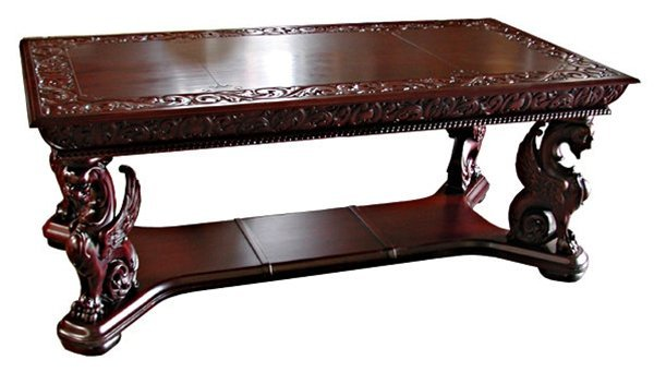 6602 Carved Griffin Mahogany Partners Desk by R.J. Horn