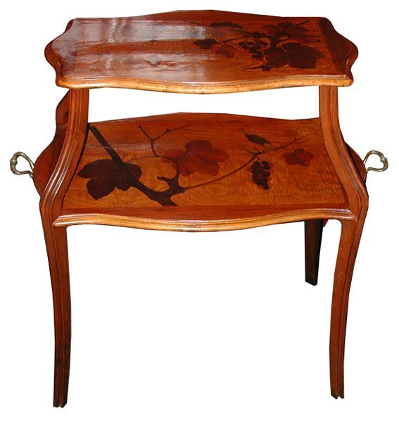 6262 Beautiful Two-Tier Inlaid Art Nouveau Table