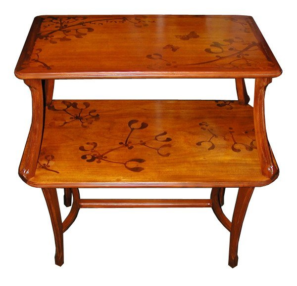 6263 Beautiful Two-Tier Inlaid Art Nouveau Table Signed