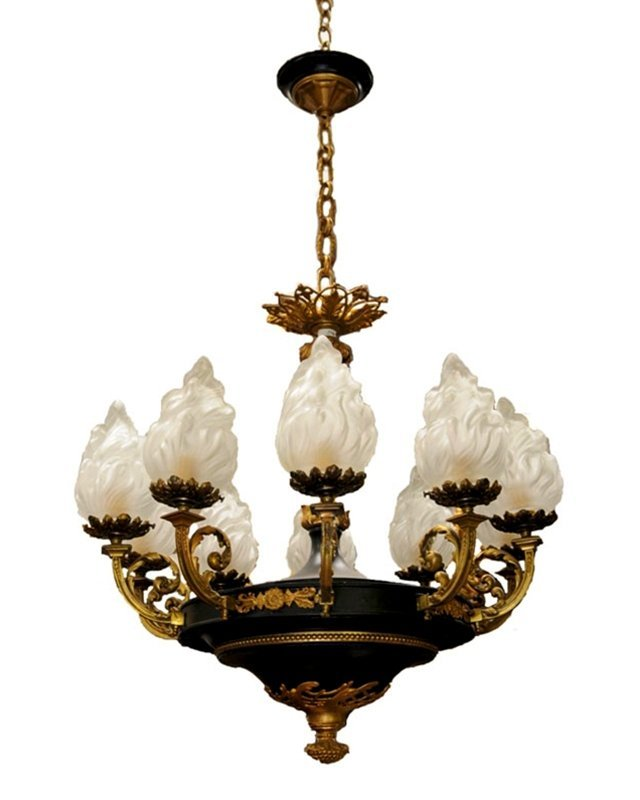 5919 Antique Tole & Bronze French Empire Chandelier
