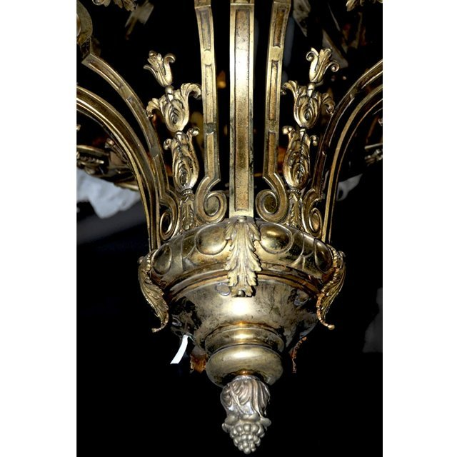5919 Antique Tole & Bronze French Empire Chandelier - 6