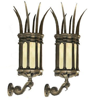 6593 Pair of 19th C. Spiked Lantern Sconces with Amber