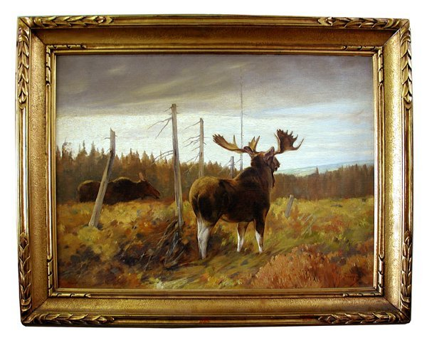 """5716 Oil on Canvas """"Moose and Mate"""" by Carl Runguis"""