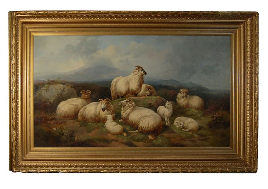 """7300 Oil on Canvas """"Sheep Resting"""" by James C. Morris"""