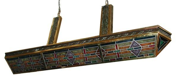 4026 Art Deco V-Shaped Stained Glass Lighting Fixture