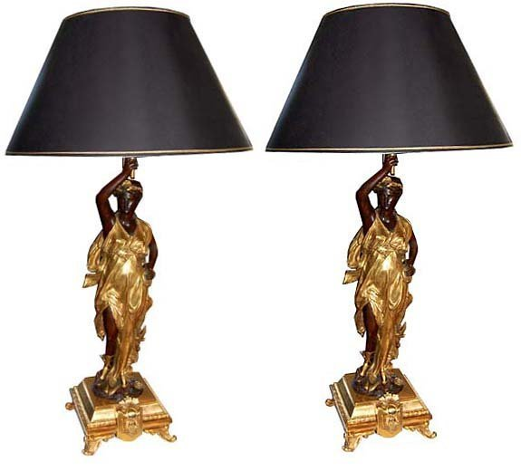 6654 Spectacular Pair of Figural Bronze Lamps