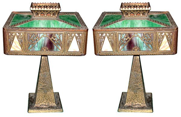 5916 Pair of Cast Bronze & Iron Table Lamps with Staine