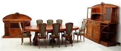 7694 11-Pc. French Art Nouveau Majorelle Dining Set
