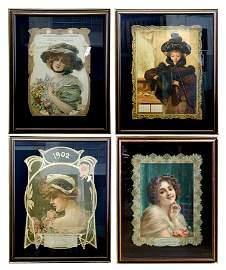 5584 Original Set of Art Nouveau Women Posters c. 1900