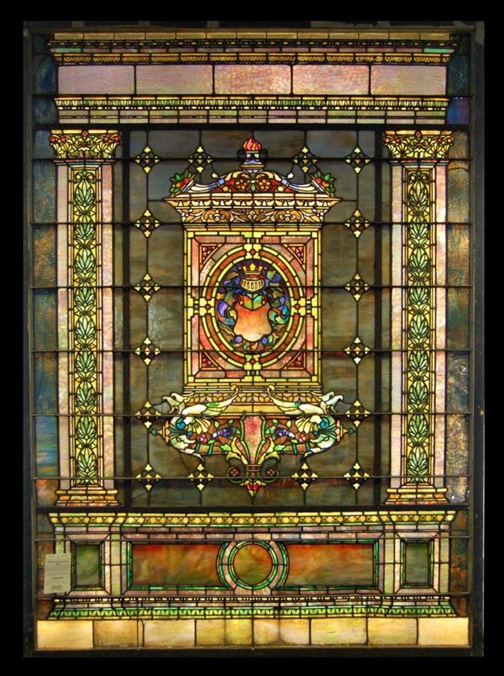 7713 8-Foot Tall Antique Stained Glass by Tiffany