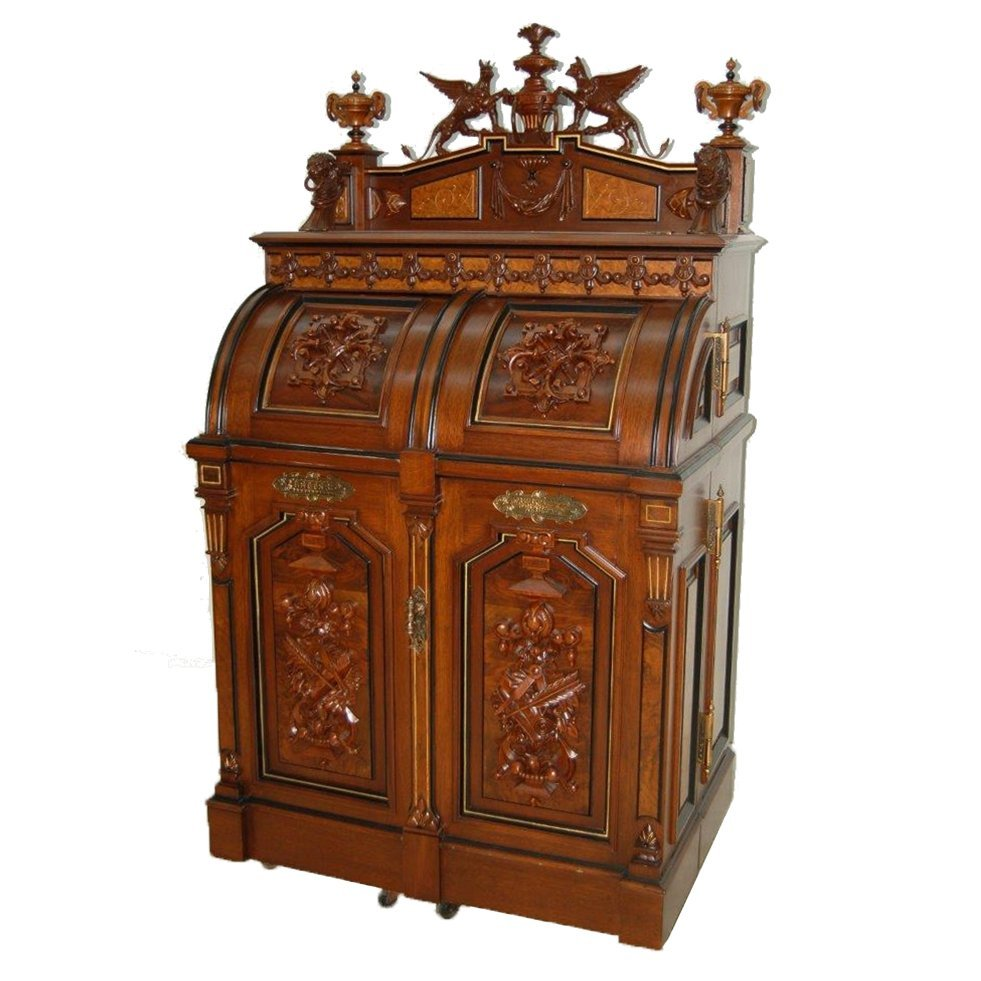 0271 Superior Grade Wooton Desk with Carved Griffins