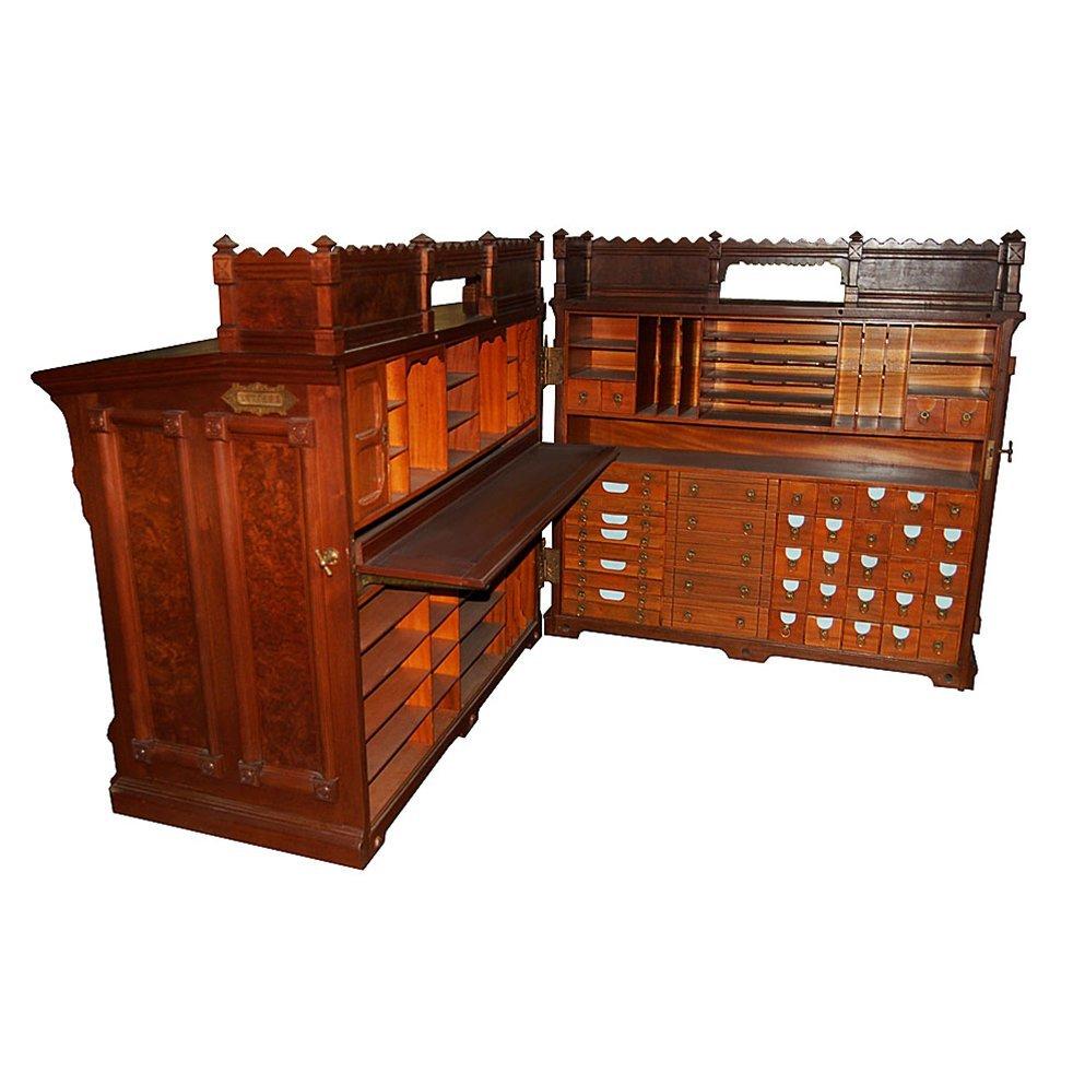7100 Antique Moore Combination Cabinet Desk c. 1878