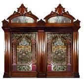 4454B Pair John Lafarge Beveled & Stained Glass Windows