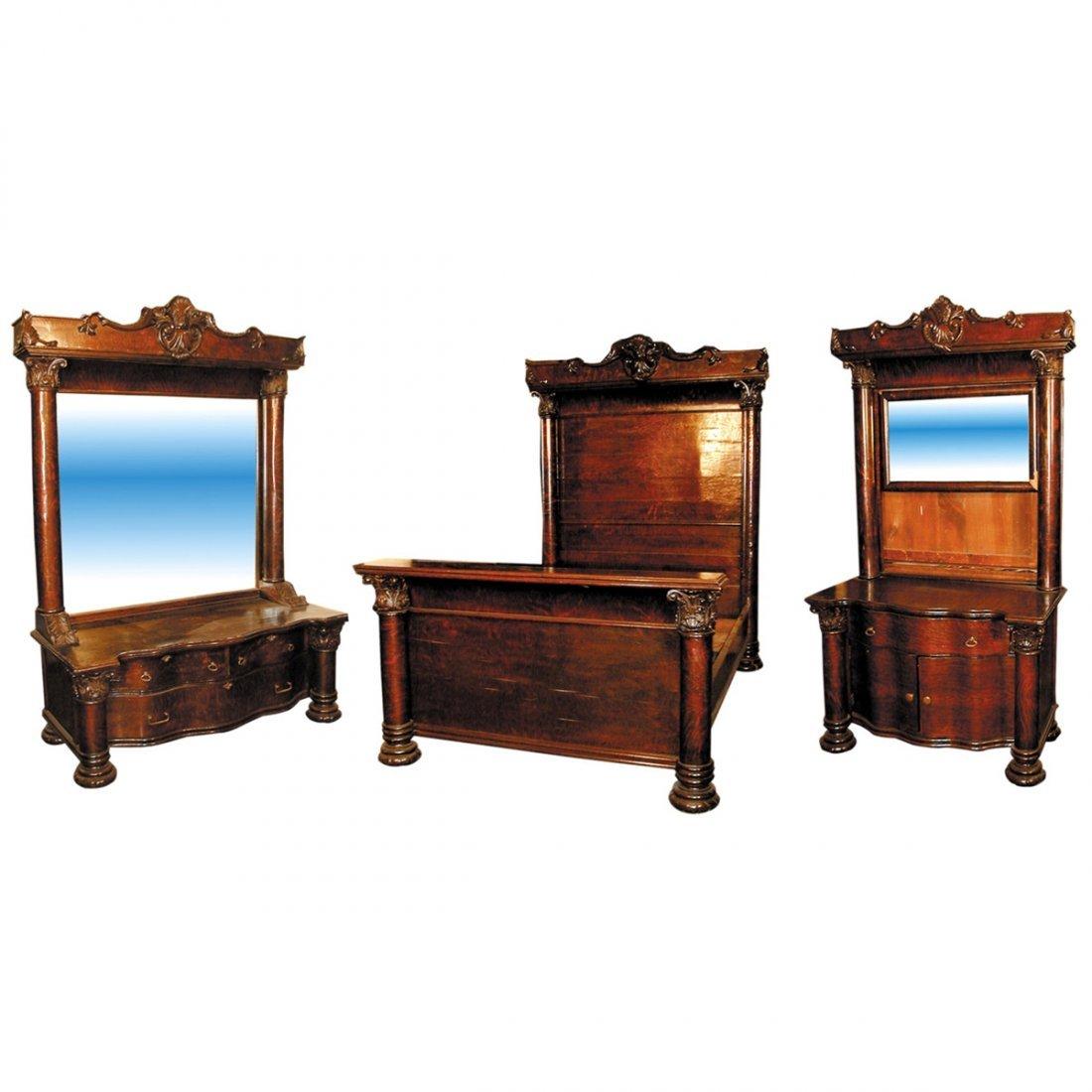 1190 Exceptional American Oak Victorian Bedroom Suite