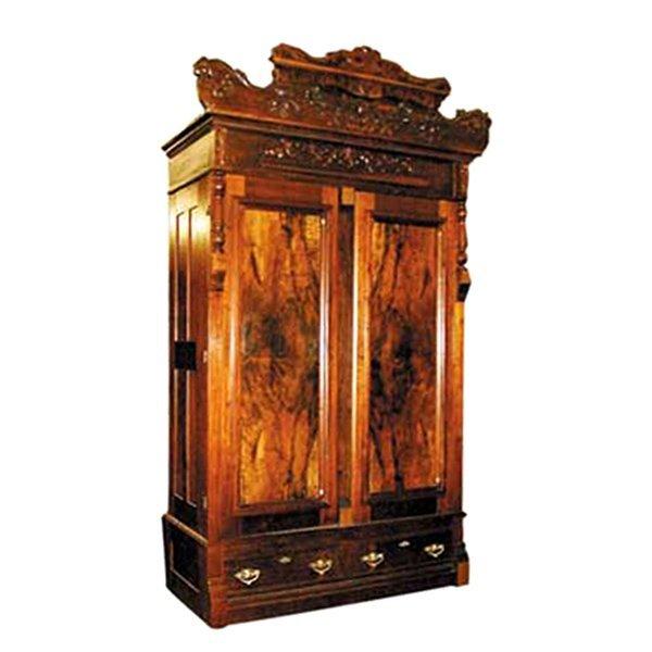 1285 Antique Victorian Walnut & Burl Armoire