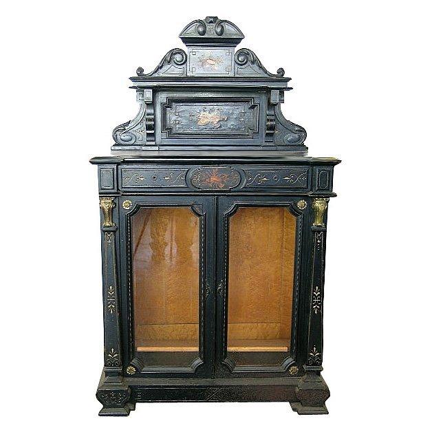 1391 Fabulous Ebonized & Inlaid Cabinet w/Glass Doors