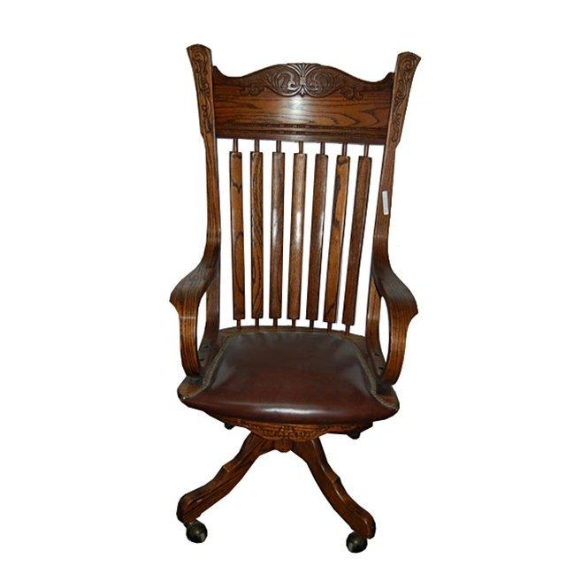 1705 Oak Arrow Back Swivel Chair w/ Brown Leather Seat