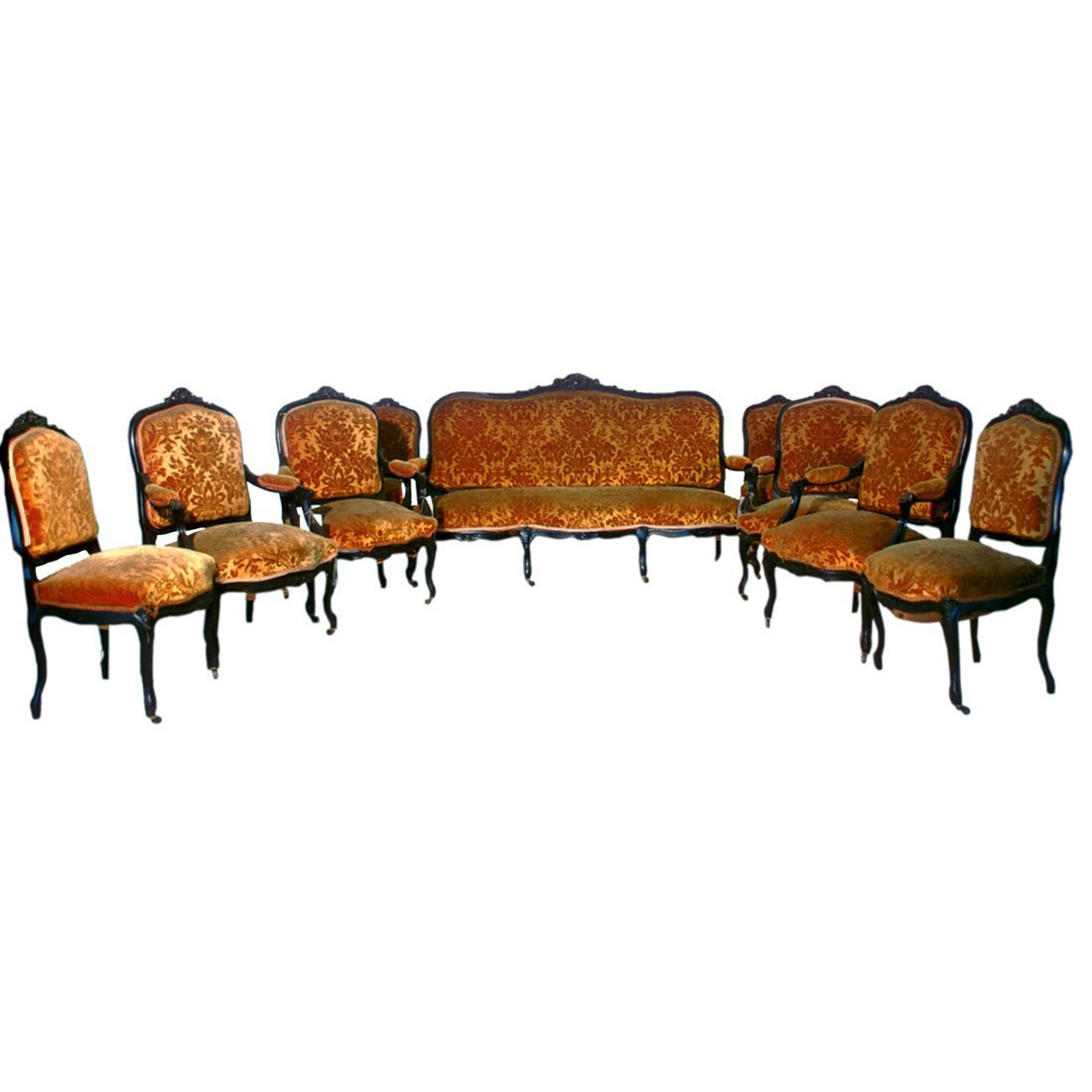 1905 9-Pc. French Parlor Ste in Walnut w/ Carved
