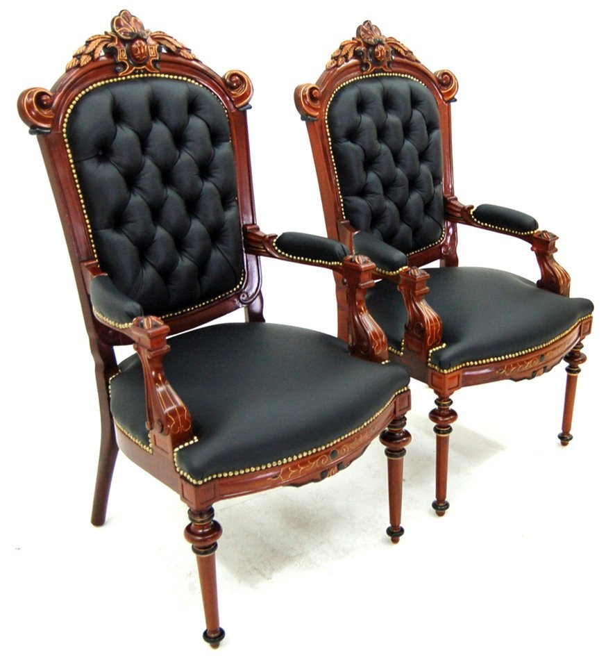 1961 Pair of His & Hers Clients Armchairs in Black