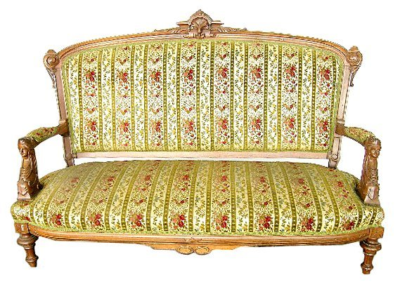 1962 19th C. Victorian Sofa w/ Carved Ladies Heads by