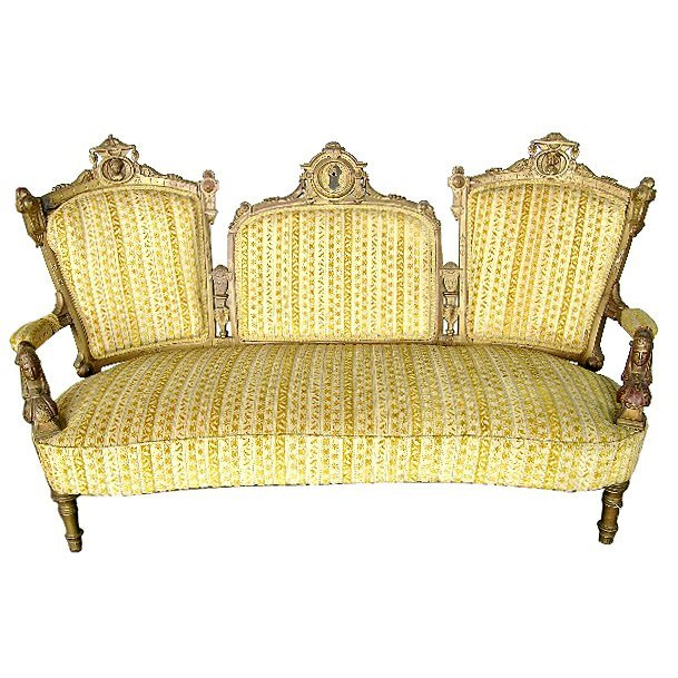 1965 19th C. Victorian Carved Walnut Gilt Sofa by John