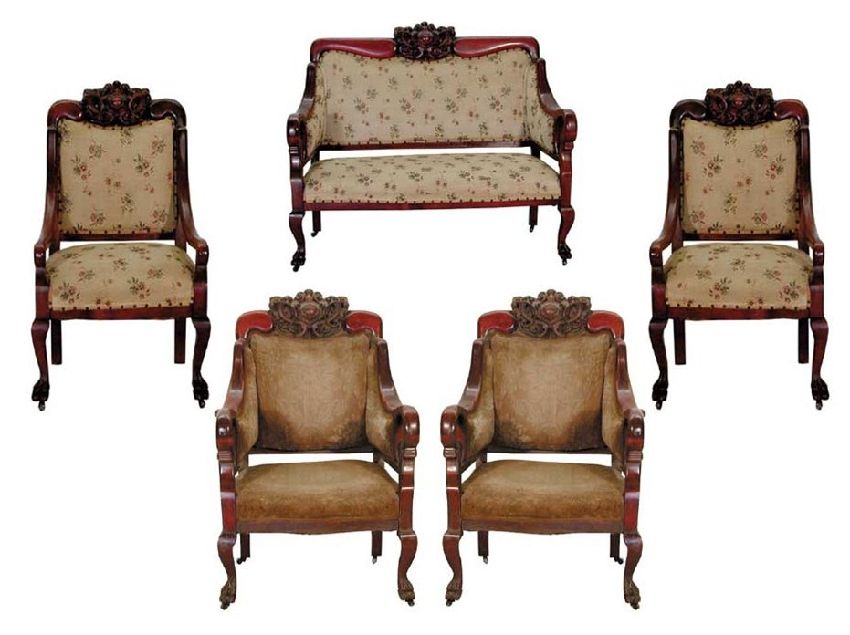 1987 19th C. American 5-Piece Carved Mahogany Parlor
