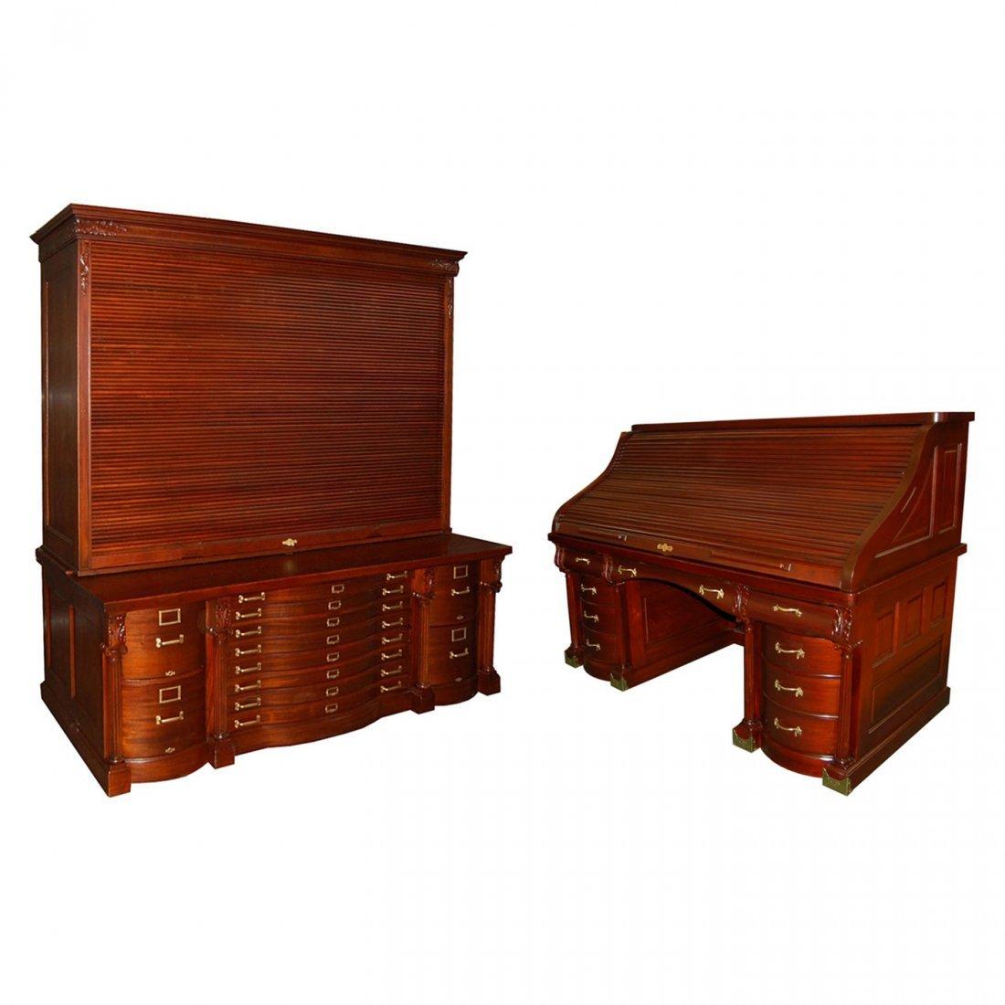215 19th C. Mahogany Rolltop Desk & Filing System