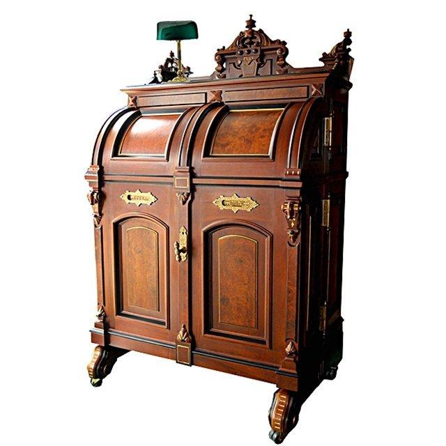 6456 Victorian Burled Walnut Standard Grade Wooton Desk