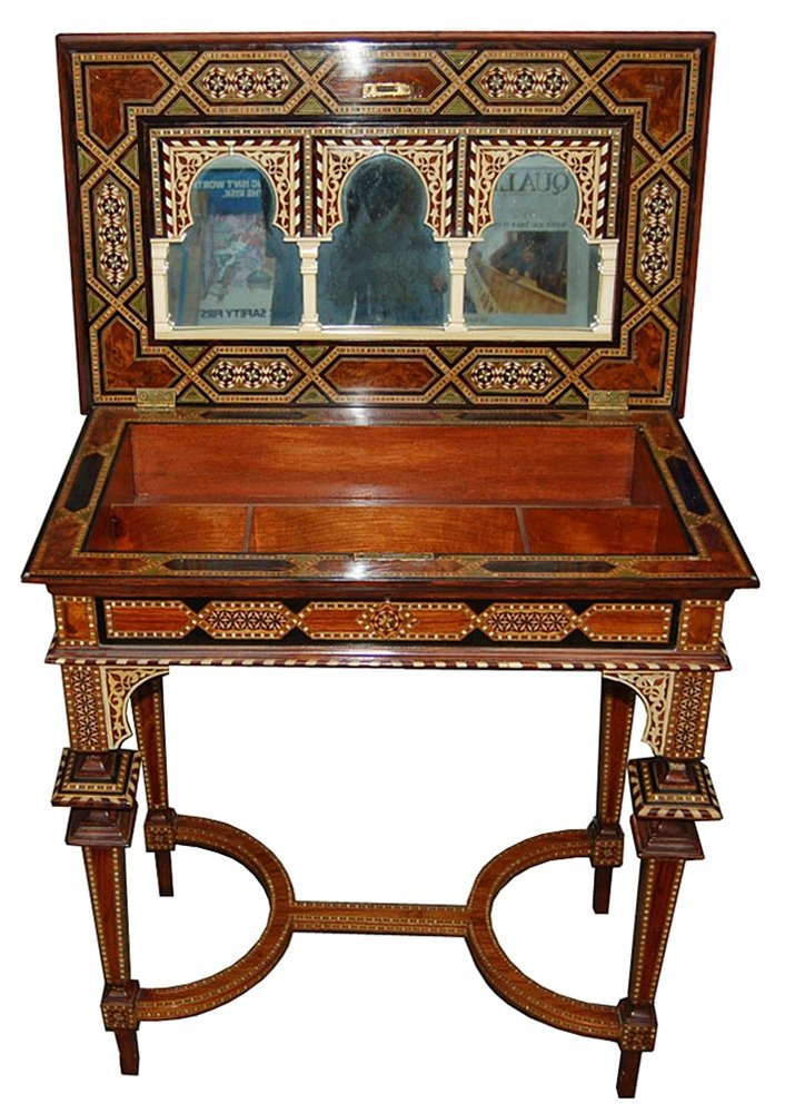 7465 Carved Table Made with Mixed Exotic Woods