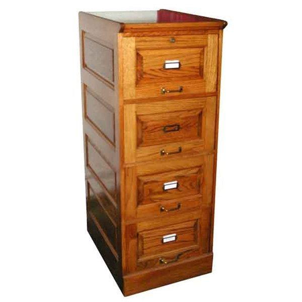 076 Fantastic Four-Drawer Oak Filing Cabinet