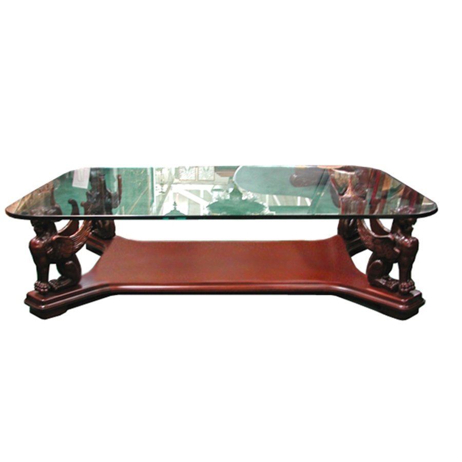 10667 Large Mahogany Griffin Coffee Table