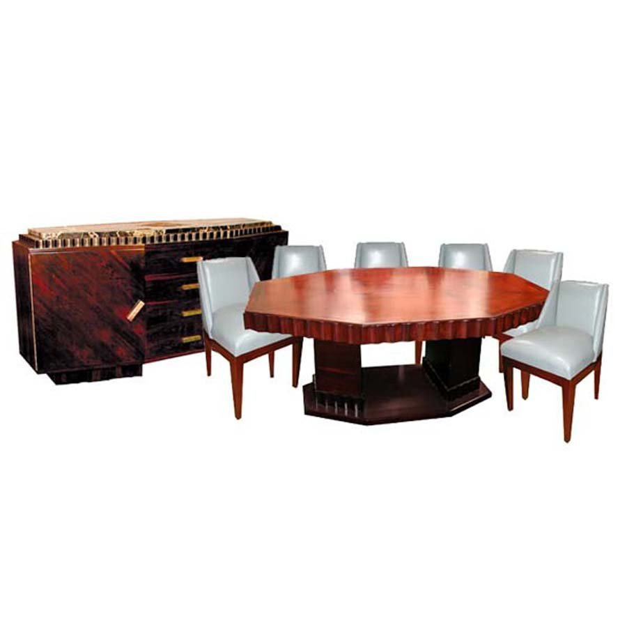 1164 8-Pc Rosewood Art Deco Dining Set by Jules Cayette