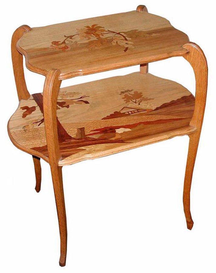 1170 E. Gallé Fruitwood Marquetry Tea Table circa 1900