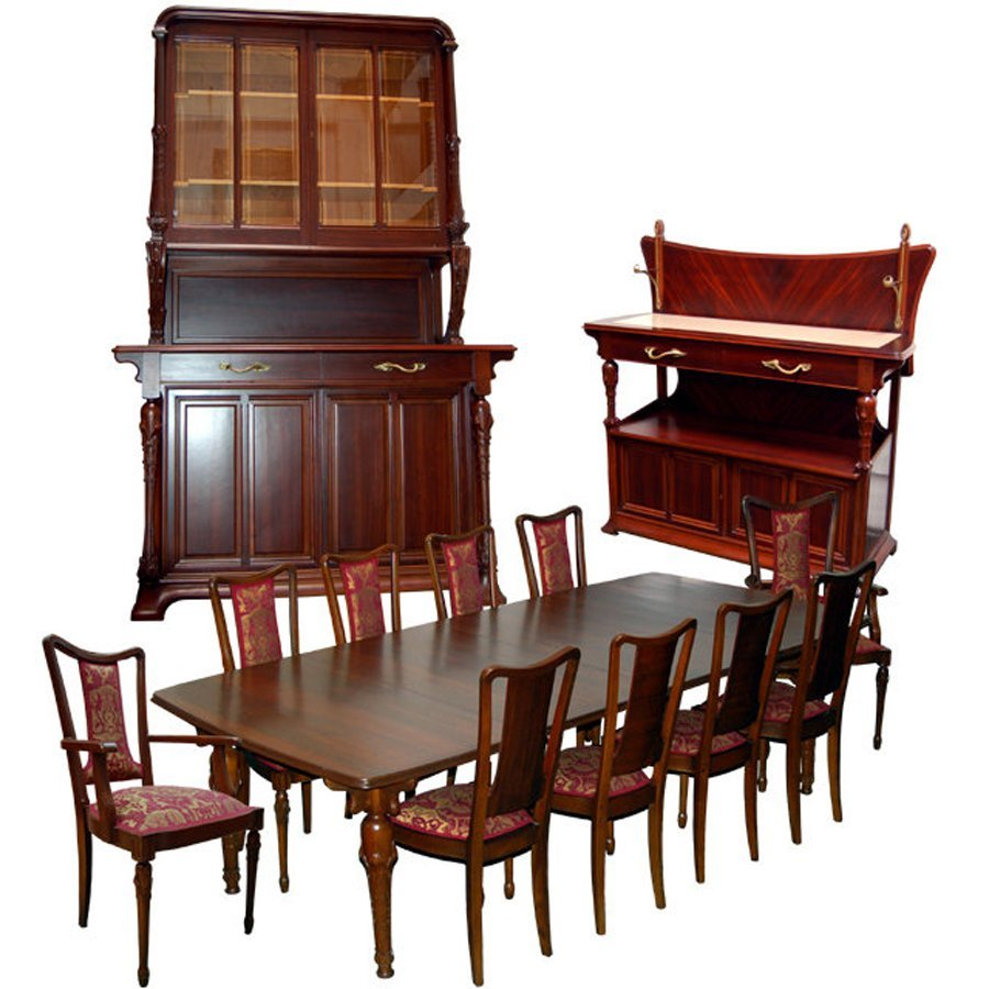 1179 13-Pc French Art Nouveau Dining set by H. Guimard