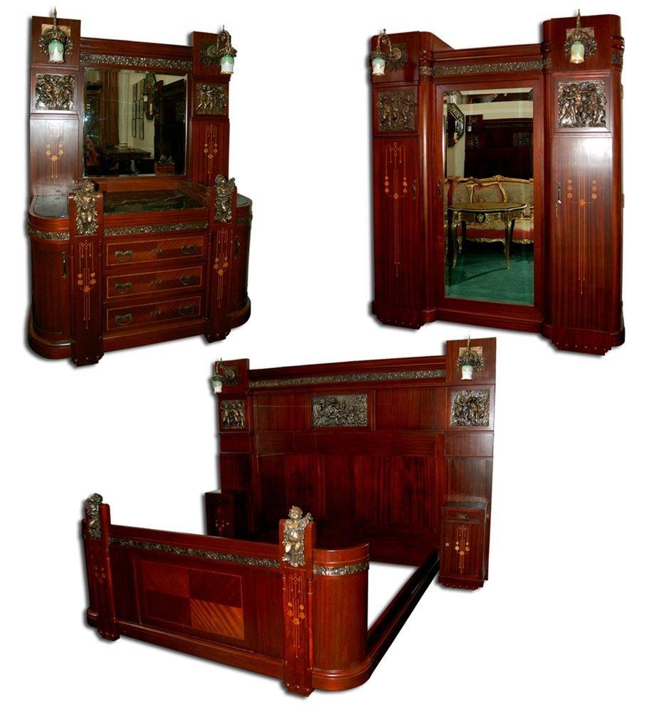 1197 Early-20th C. 3-Piece Italian Mahogany Bed Set
