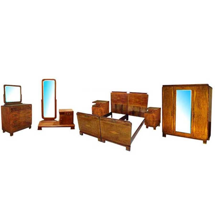 1209 Art Deco Walnut & Burl 6-Pc. Bedroom Suite